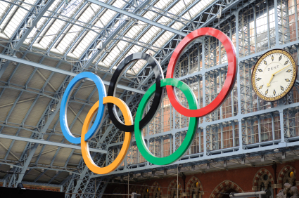 Olympic rings at St Pancreas Station London 2012
