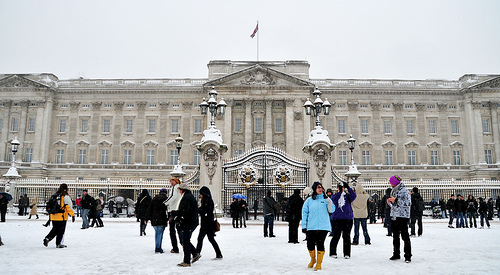 London in snow during winter